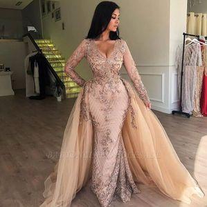 2020 Русалка V-образным вырезом Длинные рукава Appliqued Пром платья со съемной юбкой Русалка вечернее платье