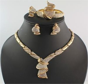 Africa Jewelry Sets Dubai High Quality Rhinestone Necklace Bracelet Ring Earring 18K Gold Plated Party Jewellery Set