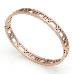 Delicate Hollow Roman Numeral Bracelets & Bangles Titanium Steel Love Bangle Fine Jewelry For Women Vacuum Plating Bangle