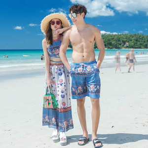 Matching Couple Swimsuit Men Swim Shorts Mulheres Skirt 3 Piece Set Swimwear Quick Dry Praia Pants Natação Surf Board Shorts