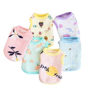 Atacado Cub roupas para cachorros algodão macio Cats filhote de cachorro Vest Imprimir Flor recém-nascido cães pequenos / Cats Coletes Chihuahua Roupa Pet XXS / XS
