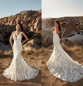 2021 Eddy K Mermaid Wedding Dresses Deep V Neck Lace Appliques Sexy Backless Beach Wedding Gowns Custom Made Robe De Mariee