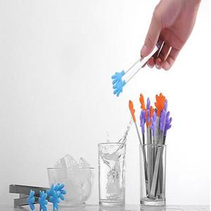 미니 식품 스테인리스 미끄럼 3D 실리콘 손 모양 음식 클립 아이스 케이크 귀여운 클립 WY417Q 클립