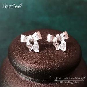 Bastiee 999 Sterling gümüş başı saplama Küpe İçin Kadınlar Kulak İpuçları Küçük Küpe Miao Gümüş El Yapımı Takı Studs Moda