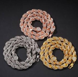 9MM مثلج خارج سلسلة حبل قلادة الهيب هوب بلينغ بلينغ قلادة 18K مطلية بالذهب والمجوهرات الموضة العصرية من whosales