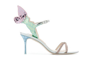 Hot Sale-Sophia Webster Vivid Butterfly wings sandals ankle strap Gladiator high heels colorful angel pumps wedding party sandals shoes