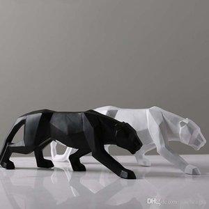 Kreative Moderne Abstrakte Schwarze Panther Skulptur Geometrische Harz Leopard Statue Wildlife Decor Geschenk Handwerk Ornament Zubehör Einrichtung