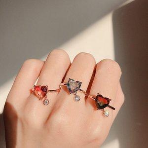 MENGJIQIAO 2019 New Sweet Heart KubikZircon Ringe für Frauen-Mädchen arbeiten Bunte quadratische Kristallpartei Bague Finger Schmuck