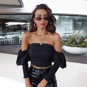 Le donne del progettista Slash collo senza spalline Top Backless sexy scava fuori Crop Tops casual Panelled Top Abbigliamento Donna