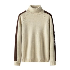 Korean Men Turtleneck Pullover Knitwear Long Sleeve O-neck Side Striped Sweater Spring Autumn Casual Slim Fit Pullover Sweaters