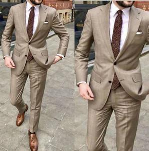 Dark Khaki رجل البدلات الرسمية زي وسيم الزفاف الدعاوى للرجال النمط البريطاني مخصص ازياء صب أزياء السترة (سترة + بانت)