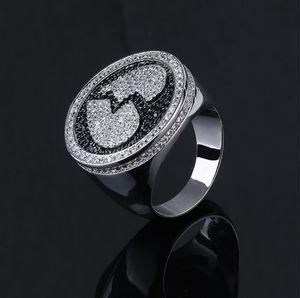 خاتم القلب المكسور أنماط القلب المكسور خاتم الهيب هوب للرجال السود والفضي أفضل هدية للرجال