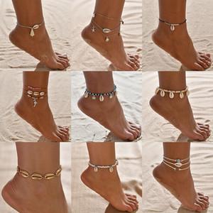 빈티지 앤티크 골드 컬러 발찌 체인 여성 쉘 비즈 기하학적 팔찌 매력 보헤미안 발목 팔찌 보헤미안 발 체인 보석 선물