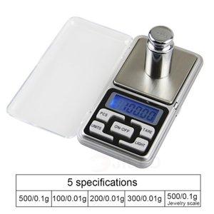 Mini Balance numérique de haute précision 100/200/300 / 500g 0,01 / 0,1g haute précision Rétro-éclairage électrique de poche pour les bijoux Gramme Poids pour la cuisine