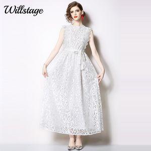 Robe de dentelle noire Willstage Femmes sans manches longues robes d'arc blanc