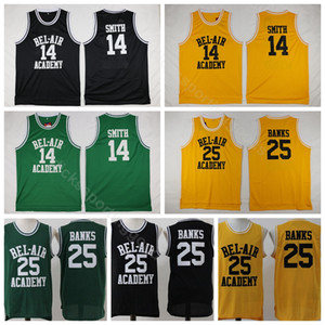 College OF The Fresh Prince Film 14 Will Smith Jersey BEL-AIR (BEL AIR) Basket-ball 25 Maillots Carlton Banks Jaune Vert Noir (Sitcom TV)