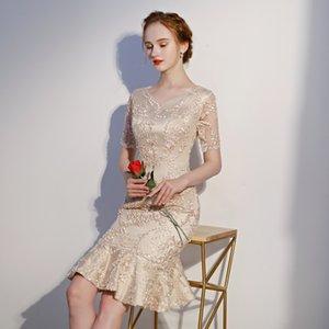 Vestido de noche Banquete Lady's Woman Lace Corta Cuello en V Vestidos de fiesta nuevos cultivar la moralidad de uno XSFS125