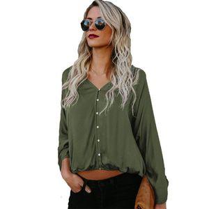 Crazy2019 Discount Autumn Dishy Woman Blouses Loose Casual V-neck Large Size Cotton Long Sleeve Shirt Blusa Feminine Blouse Tops Plus Size