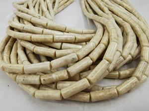 Avorio fossile Jasper Colonna rotonda Perle 5X13mm Crema pietra preziosa semi, Cilindro naturale, branelli del tubo fossili 16inch