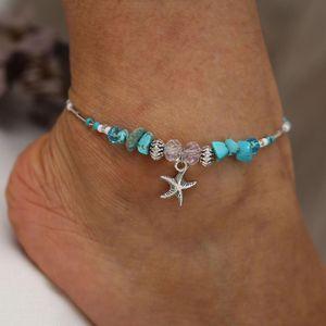 Bohême Étoiles De Mer Perles Pierre Bracelets De Cheville pour Femmes BOHO Argent Couleur Chaîne Bracelet sur Jambe Plage Cheville Bijoux 2019 NOUVEAUX Cadeaux