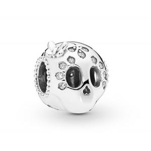 New autêntica jóia de prata esterlina 925 Bead Crânio Charme Sparkling Com Borboleta frisada Coração Beads Fit Europeu Bracelet Bangle Diy