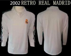 2002 레알 마드리드 복고풍 longsleeve의 축구 유니폼 04 05 복고풍 저지 홈 떨어져 고전적인 셔츠
