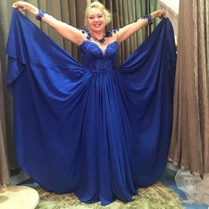 A Line Crew Long Sleeve Prom Dresses Floor Length Royal Blue Lace Chiffon Appliques Beaded Formal Evening Gowns