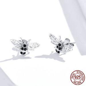 Carino piccola ape Orecchini 925 orecchini per le donne ape insetto Orecchino di personalità gioielli Lady Fashion