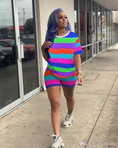 Sports Casual arco-íris Faixa Two Piece Set Mulheres Fatos Designer Vestuário Define Suits Verão Moda 2pcs