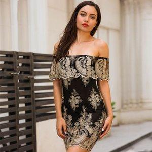 Nova Moda Verão Vestido de Mulheres New One-ombro Vestido Bordado Sexy Commuter Magro Curto Lápis Vestidos Vestidos de Roupas
