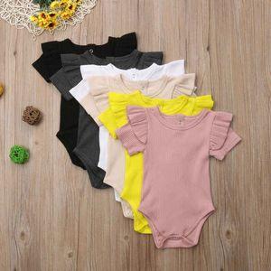 Infant Baby Girl Button Solid Color Toddler Jumpsuit Bodysuit Romper Playsuit hot sale Safe and popular