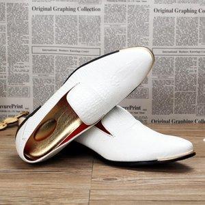 Mode populaire Mocassins Coiffure Division de mariage blanc Chaussures de jeunesse Loisirs PU Chaussures en cuir pour hommes Noir Mocassins Mocassins