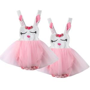 Säuglingsbaby-Kaninchen-Spitze-Prinzessin Romper Dress Tutu Party Formal Dresses
