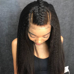 Pre Plucked Italian Yaki Full Lace Wig For Black Women Brazilian Virgin Lace Front Human Hair Wigs With Baby Hair