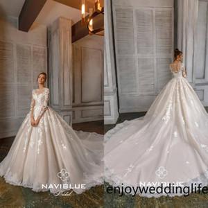 2020 Boho Ballsaal Brautkleider Jewel Ausschnitt Appliqued wulstige Pailletten langen Ärmeln Spitze Brautkleider mit Rüschen Sweep Zug Roben De Mariée