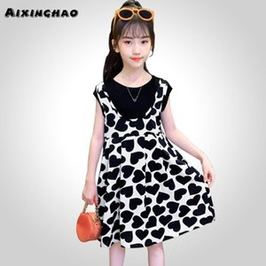 Girl Summer Dress Heart Pattern Girls Party Dress Kids Patchwork For Children Casual Style Kids Girls Clothes7pWK#