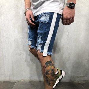 Los nuevos Mens Skinny Jeans cortos Rip ajuste delgado denim stretch de socorro raído motorista Scratchted pantalones vaqueros hasta la rodilla