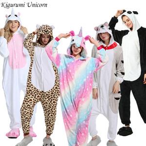 Unicórnio Pajama Adulto Animal Onesies para Mulheres Homens Casal 2019 Pijamas de Inverno Kegurumi Pijamas Pijamas Flanela Pijama