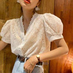 New White Vintage Summer Tops manches courtes Femme évider shirt Femme Rétro perspective dentelle Chemisier