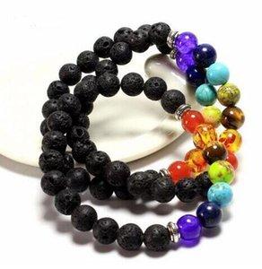 믹스 7 색 천연 석재 팔찌 블랙 천연 용암 7 차크라 힐링 밸런스 8mm 비즈 팔찌 남성 여성용 Reiki Prayer Stone Bracelet