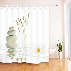 Piedras y negro Lotus en agua cortina de ducha Zen SPA Cuarto de baño blanco impermeable extra larga tela de poliéster para bañera Decoración