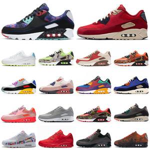 nike air max 90 airmax 90s zapatos corrientes de los hombres de las mujeres Triple Negro de neón Naranja Azul para hombre entrenadores deportivos zapatillas de deporte 36-45