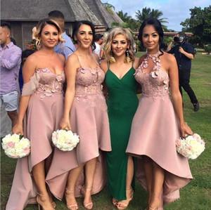 Onur Abiye elbiseler de telli turna d'honneur Tozlu Pembe Yüksek Düşük Plaj A-Line Gelinlik Modelleri Dantel Aplikler Wedding Guest Elbise Hizmetçi