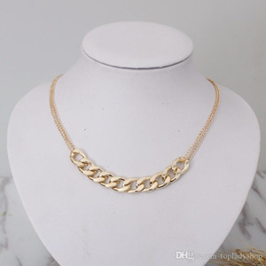 Contracted gold metal chain necklace Tide female sautoir wholesale free shipping