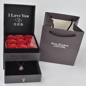 جميلة تسعة هدية عالية الصابون مربع الورود فقاعة مع 100 لغة أحبك قلادة لصديقة رومانسية هدية