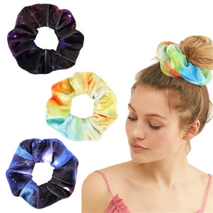Корея бархатные резинки для волос Резинки для волос эластичный градиент галстук-окрашенные волосы кольцо круг женщины девушки резинки для волос хвост держатель аксессуары для волос 2020