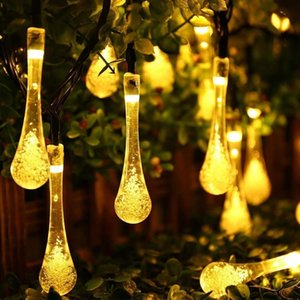 Raindrop Solar Lamp Waterproof Christmas Holiday Outdoor Garden Decoration Fairy Solar Battery String Light 5M 20LED