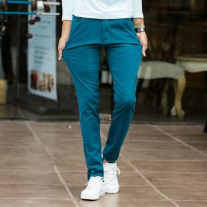 Мужские моды стрейч тонкие повседневные платья чиновые брюки бизнес брюки красный черный синий хаки 28 29 30 32 32 34 36 38mx190902