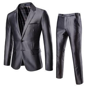 Nouveaux costumes pour hommes Four Seasons Suits Business Dress Ups Groomsmen Grooms Robes de mariée couleurs solides manches longues gris