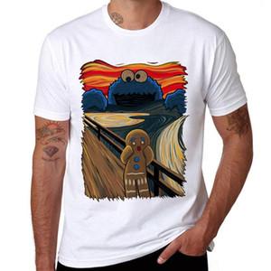 Komik kurabiye canavarı Baskılı Pamuk Erkekler Tişörtlü Kısa Kollu Casual Tişörtler Çerez Muncher Serin Tops Trend Us / Eur Boyut Tees